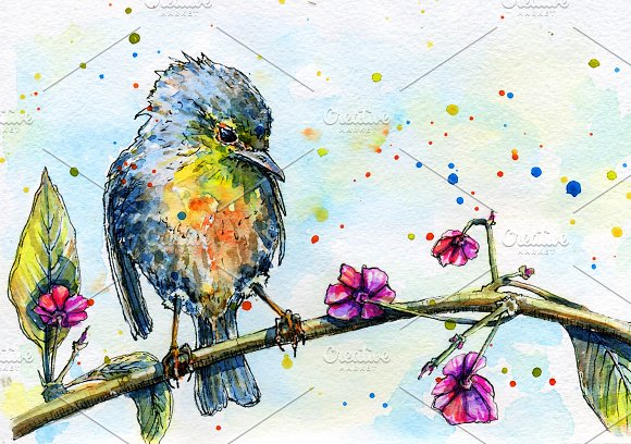 Watercolor bird sitting on a tree in Illustrations