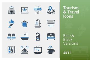 Tourism & Travel Icons Set 1 | Blue