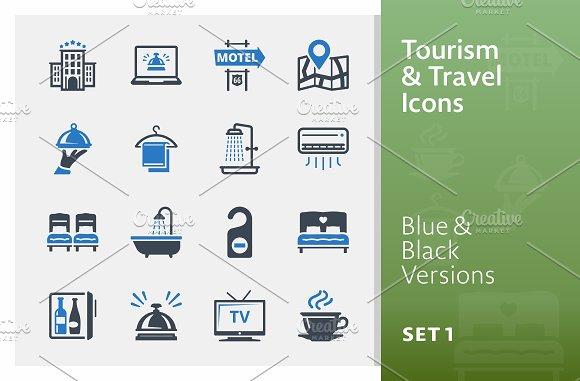 Tourism & Travel Icons Set 1 | Blue