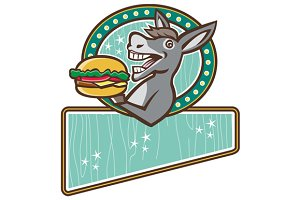 Donkey Mascot Serve Burger Rectangle