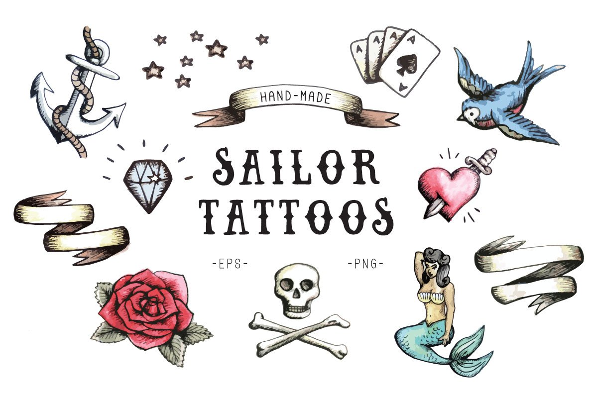 sailor tattoos illustrations creative market