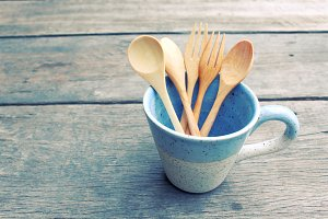 Wooden forks and tea spoons