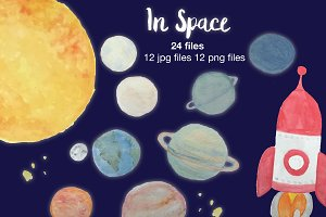 In Space - Watercolor Planets