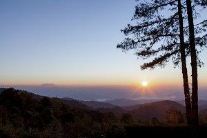 Morning sunrise over mountain