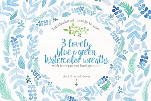 Blue & Green watercolor wreaths