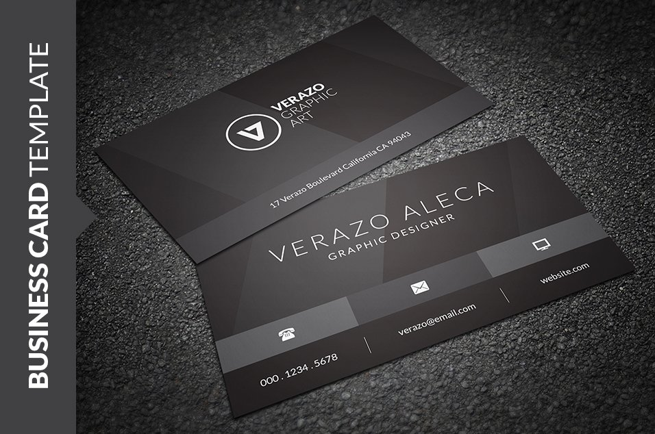 Stylish black business card business card templates creative market wajeb