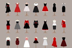 Retro woman dresses
