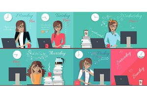 Woman Plan Work Week Design Flat
