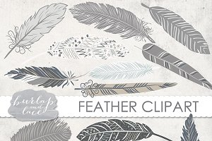 VECTOR/ Hand Drawn clipart feathers