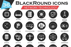 36 Network technology circle icons.