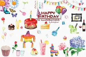Birthday - Watercolor Cliparts