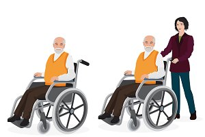 Woman push old man in wheelchair.