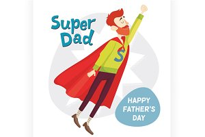 Super Dad. Vector illustration.