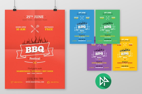 bbq party poster template flyer templates creative market