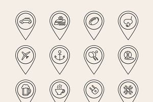 Vector outline pin icons