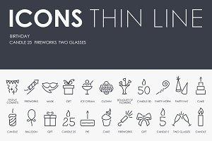 Birthday thinline icons