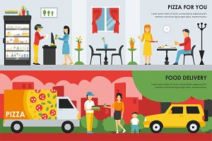 Pizzeria Flat Interiors 9 sets