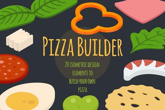 pizza isometric builder graphics creative market