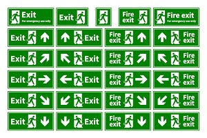 Emergency fire exit green signs