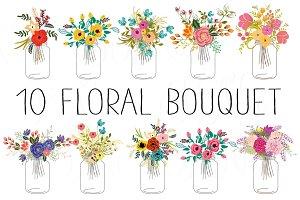 10 floral bouquets