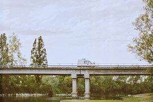 On the road: truck crossing bridge
