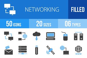 50 Networking Blue & Black Icons
