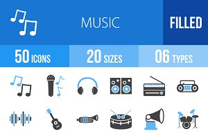 50 Music Blue & Black Icons