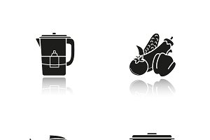 Steam cooking icons. Vector