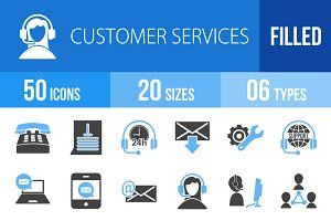 50 Customer Service Blue Black Icons