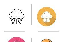 Cupcake icons. Vector