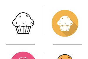Cupcake icons. Vector