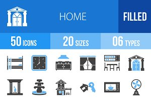50 Home Blue & Black Icons