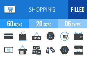 60 Shopping Blue & Black Icons