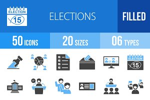 50 Elections Blue & Black Icons