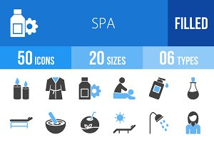 50 Spa Blue & Black Icons