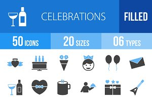 50 Celebrations Blue & Black Icons