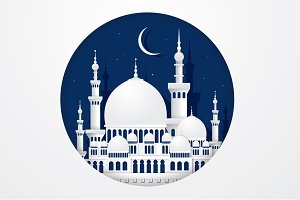 mosque paper cutting vector
