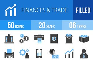 50 Finance & Trade Blue Black Icons