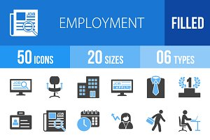 50 Employment Blue & Black Icons