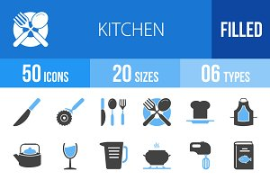 50 Kitchen Blue & Black Icons