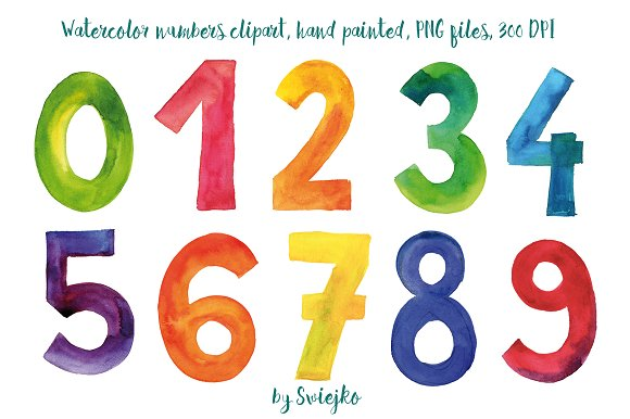 watercolor numbers illustrations creative market