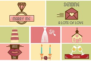 Vintage Wedding Flat Icons