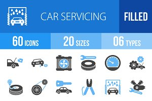 60 Car Servicing Blue & Black Icons