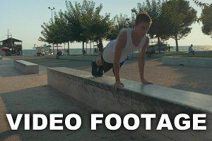 Teenager performing push-ups