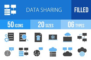 50 Data Sharing Blue & Black Icons