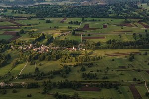 Villages and Fields at sunrise