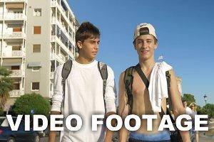 Teenagers walking in city