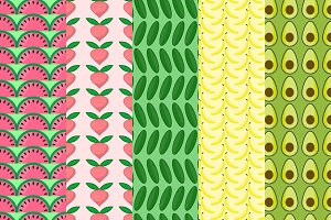5 Fruit and Vegetable patterns
