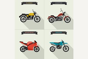 Motorcycles illustrations set