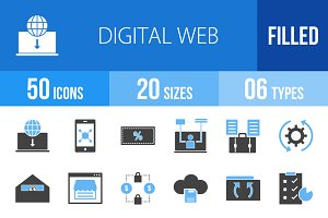 50 Digital Web Blue & Black Icons